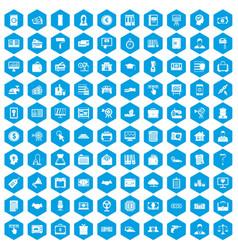 100 lending icons set blue vector