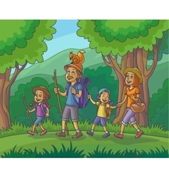 Happy family is hiking in the forest vector