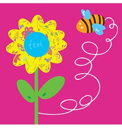 Bee and flower greeting baby card vector image