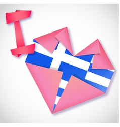 Origami paper i love greece heart card vector