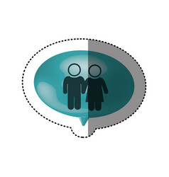sticker of oval speech with pictogram of couple vector image