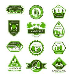 Landscape design badge set of park and garden tree vector