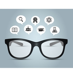 Glasses with education icons vector