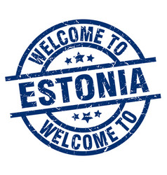 Welcome to estonia blue stamp vector