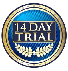 Fourteen day trial emblem vector