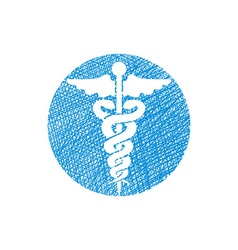 Caduceus medical icon with hand drawn lines vector