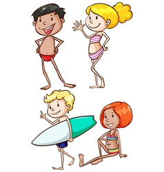 Plain drawings of the people at the beach vector