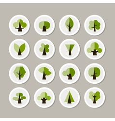 Set of green tree icons for your design vector