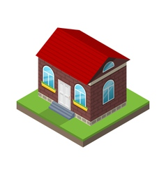 Residential isometric house with grass and ground vector