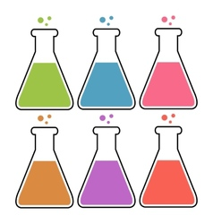 Set of flasks with color liquid vector