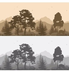 Seamless Mountain Landscape with Trees Silhouettes vector image