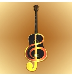 Acoustic guitar with a treble clef vector