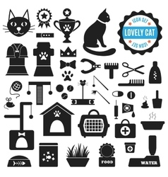 Great set of icons about lovely cat vector