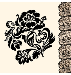 Flower and border vector