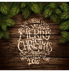 Christmas typography on wooden texture vector
