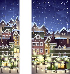 Winter town decorated with christmas light vector
