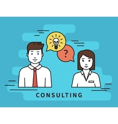 Business woman and male consultant with question vector