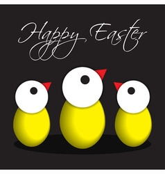 Greeting card easter chicken eggs vector