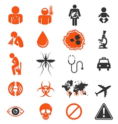 Icon set of zika virus infection vector
