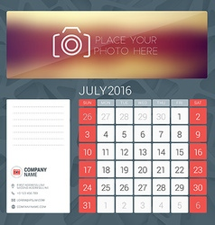 Desk Calendar for 2016 Year July Stationery Design vector image
