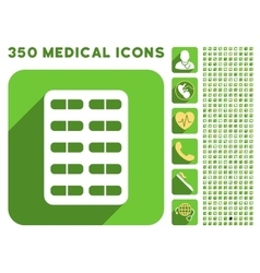 Pill blister icon and medical longshadow icon set vector