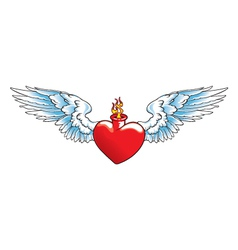 Winged heart with flames vector