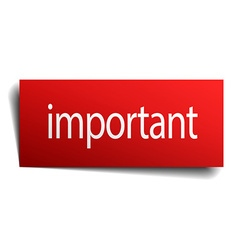 Important red square isolated paper sign on white vector