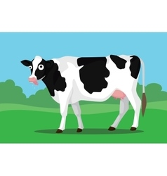 Mad cow on bush with funny expression vector