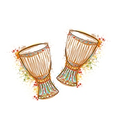 drums tam tam with splashes in watercolor style vector image