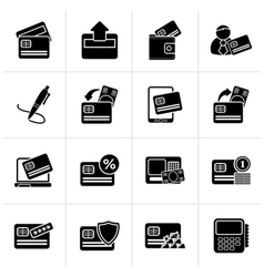 Black credit card pos terminal and atm icons vector