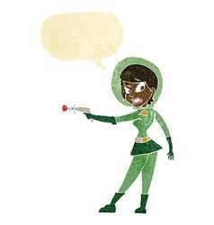 cartoon sci fi girl with speech bubble vector image
