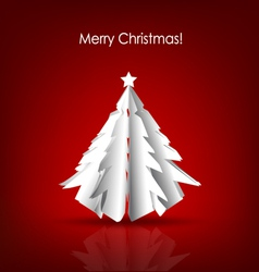 Christmas background with Paper Christmas tree vector image