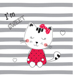 Cute with funny cartoon cat vector