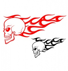 danger skull with flames vector image vector image