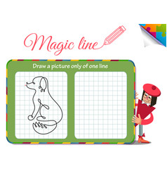 Dog only of one line vector
