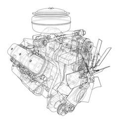 engine sketch vector image vector image