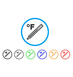 Fahrenheit medical thermometer rounded icon vector
