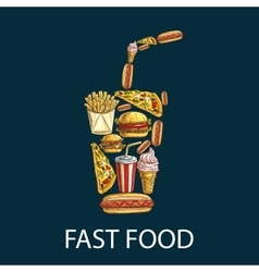 Fast food decoration emblem in shape of drink cup vector
