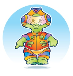 Funny alien wearing space suit vector image vector image