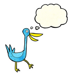 Funny cartoon duck with thought bubble vector
