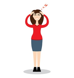 Headache girl high blood pressure concept vector