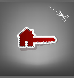 Home key sign red icon with for applique vector