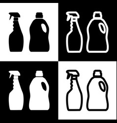 Household chemical bottles sign black and vector