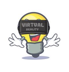 Light bulb character cartoon with virtual reality vector