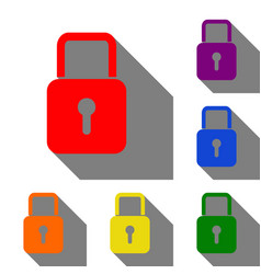 lock sign set of red orange yellow vector image