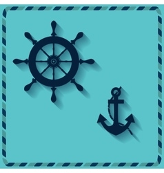 nautical wheel and anchor vector image vector image