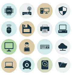 Notebook icons set collection of keypad laptop vector
