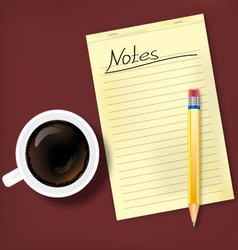 Notes and coffee vector image vector image