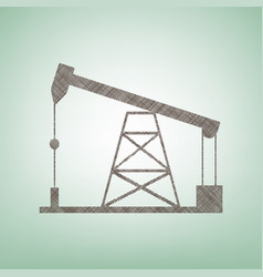 oil drilling rig sign  brown flax icon on vector image