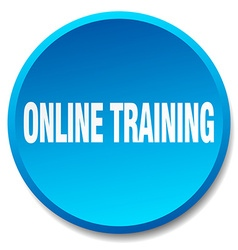 Online training blue round flat isolated push vector